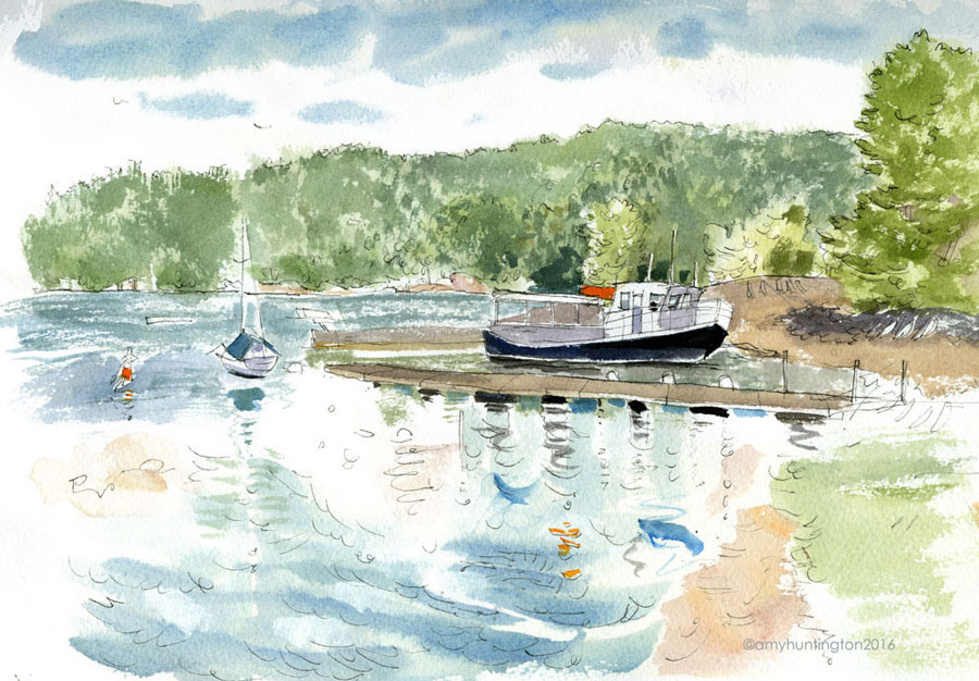 Illustration- Boat at Basin Harbor