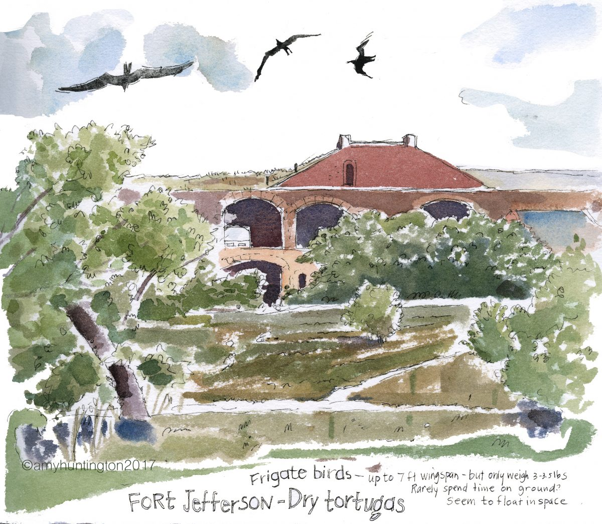 Watercolor of Fort Jefferson at Dry Tortuga, Florida