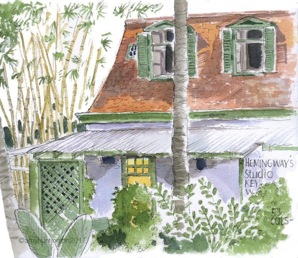 Watercolor of Hemingway's studio in Key West, Florida