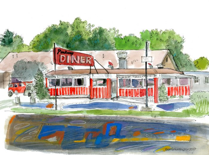 Illustration of the Parkway Diner in S. Burlington, Vermont