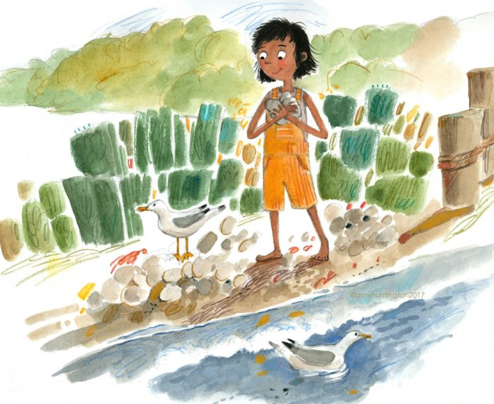 Illustration of a girl collecting rocks at the beach