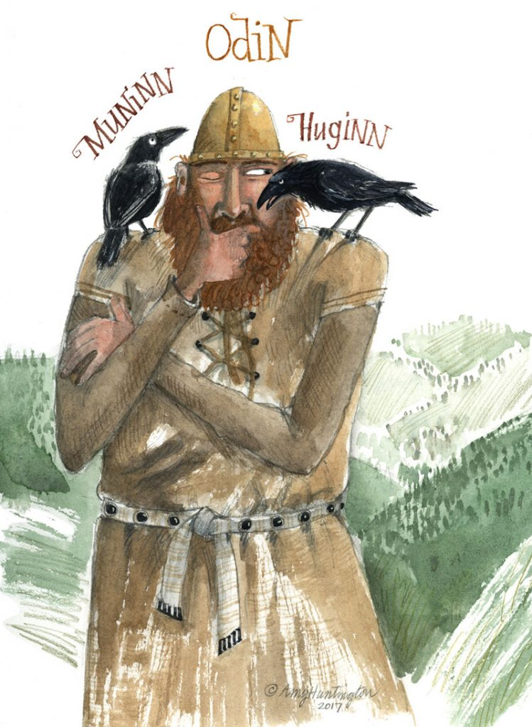 Illustration of Odin listening to his two crows Muninn and Huginn