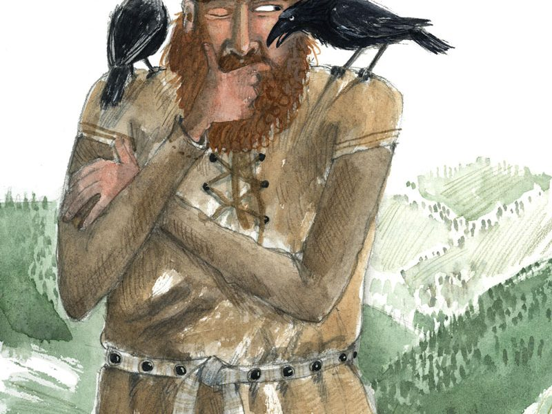 Odin and two ravens