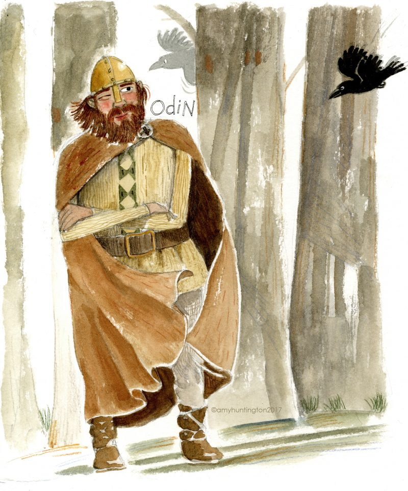 Odin in the wood, illustration