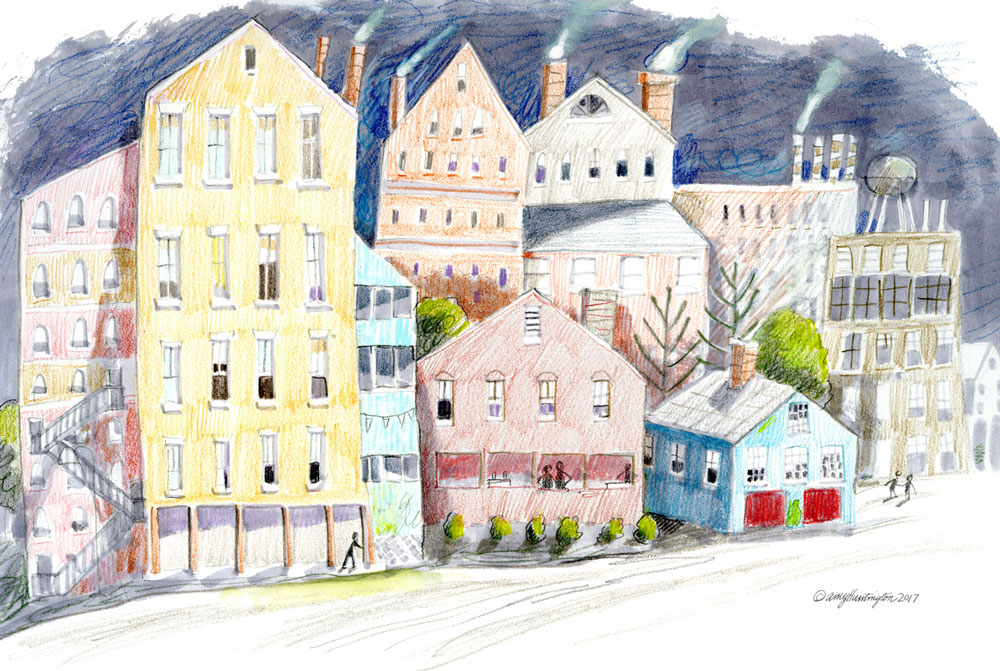 Buildings, cityscape, colored pencil illustration