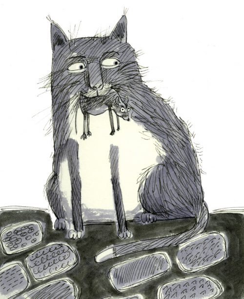 Ink illustration of cat with mouse (in mouth)
