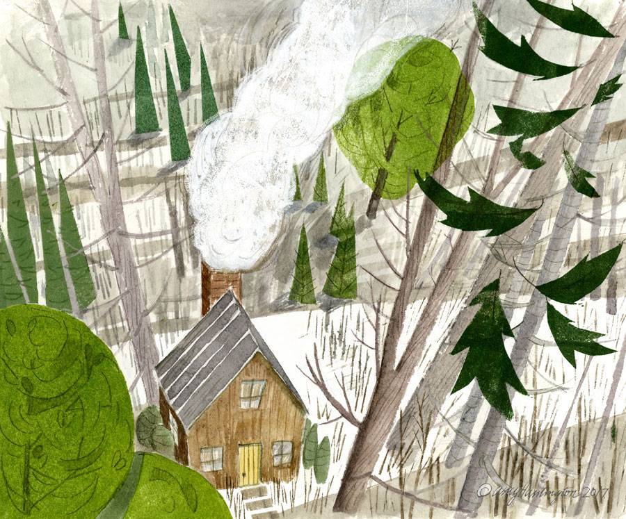 Illustration, house in the woods, mixed media