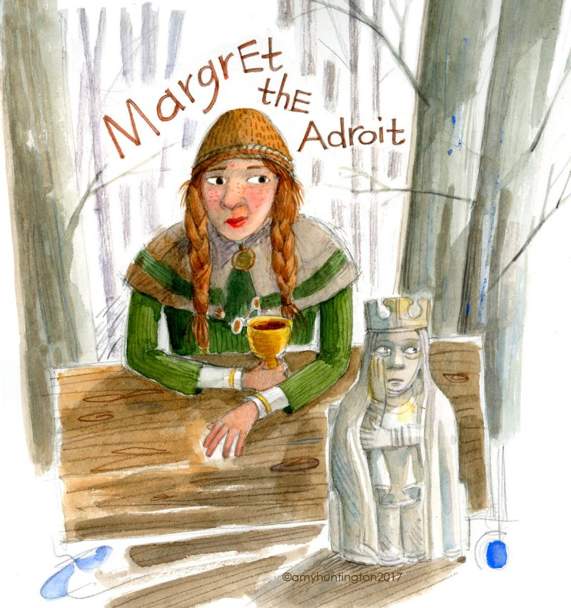 Illustration portrait of Margret the Adroit, an icelandic carver from the 1100's