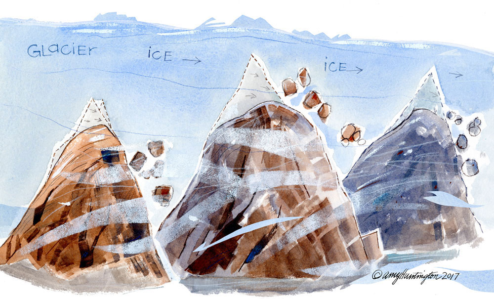 Illustration of glacier shaping mountain, mixed media