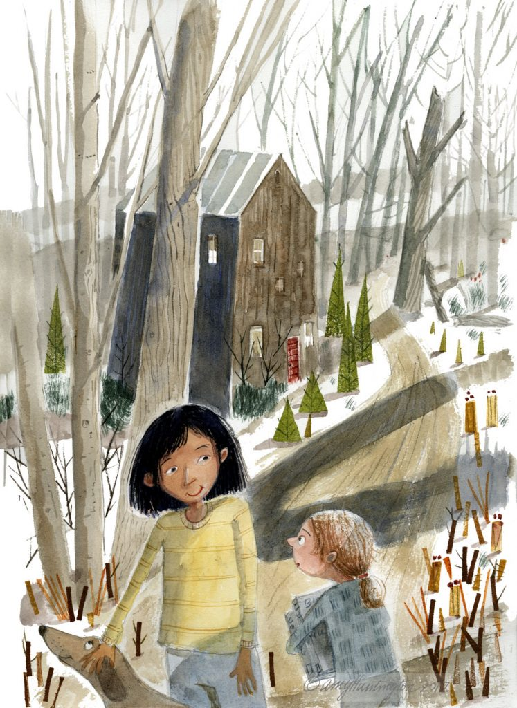 Illustration, Children walking path through woods