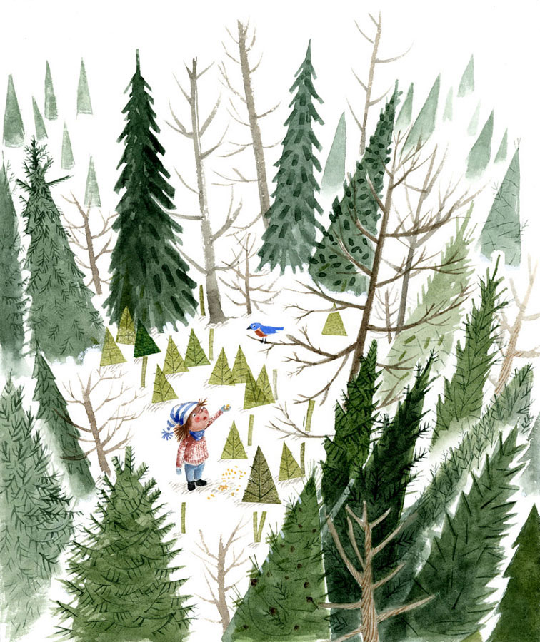 Child in woods feeding bluebird, illustration