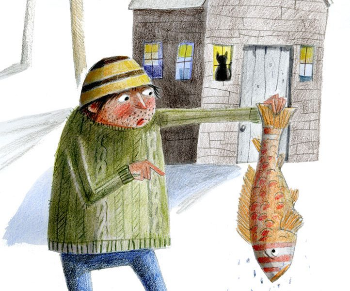 Illustration of big fish being pulled from a tiny bucket