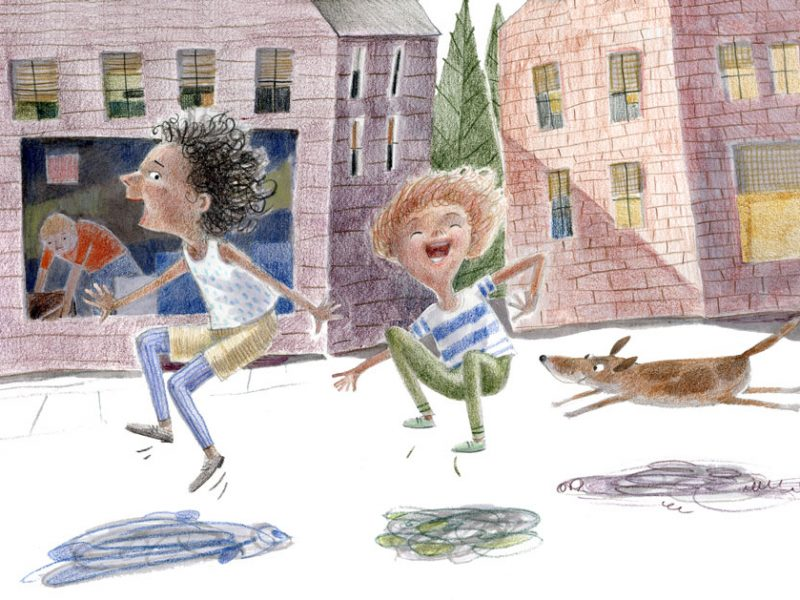 children and dog jumping on sidewalk- illustration, colored pencil
