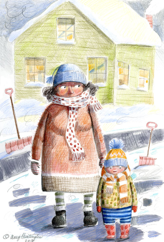 Bundled child with Grandma in the snow, illustration