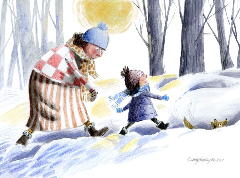 Child walking with grandma in winter snow