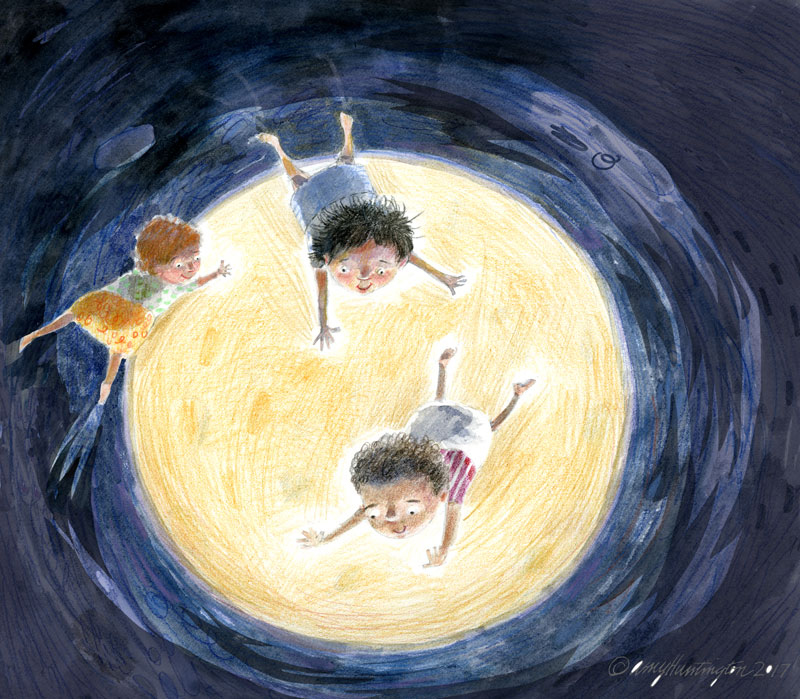 Illustration of babies floating in front of a super moon