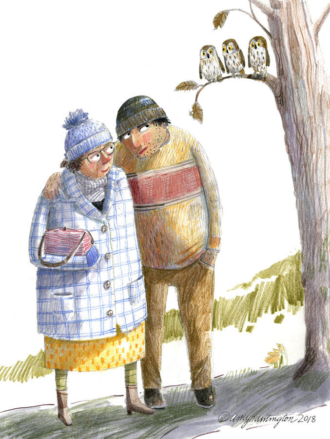 Illustration, a couple looking at three owls