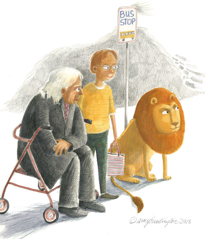 Illustration- a boy and older man and a lion wait at the bus stop