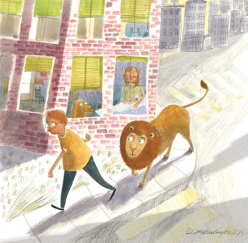 Illustration of boy and lion in the city