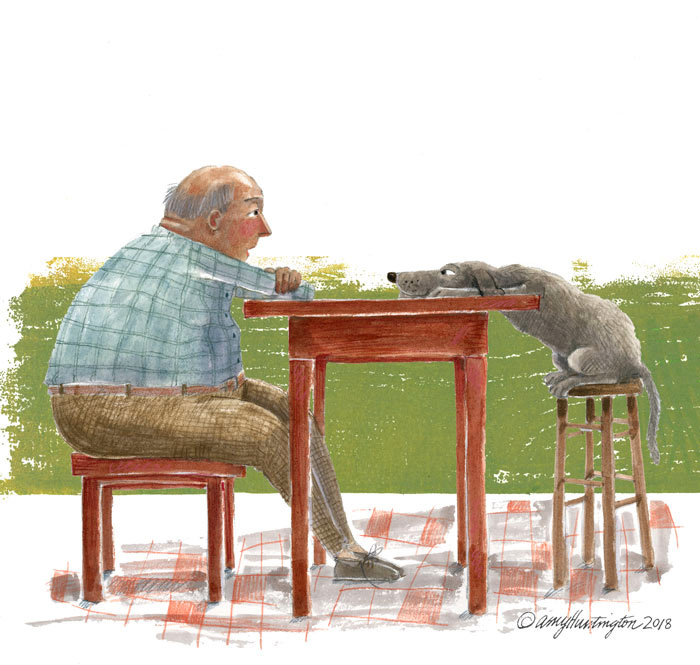Illustration of man and dog at table