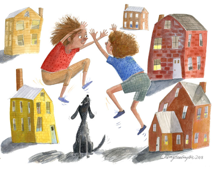 Illustration-two girls jumping