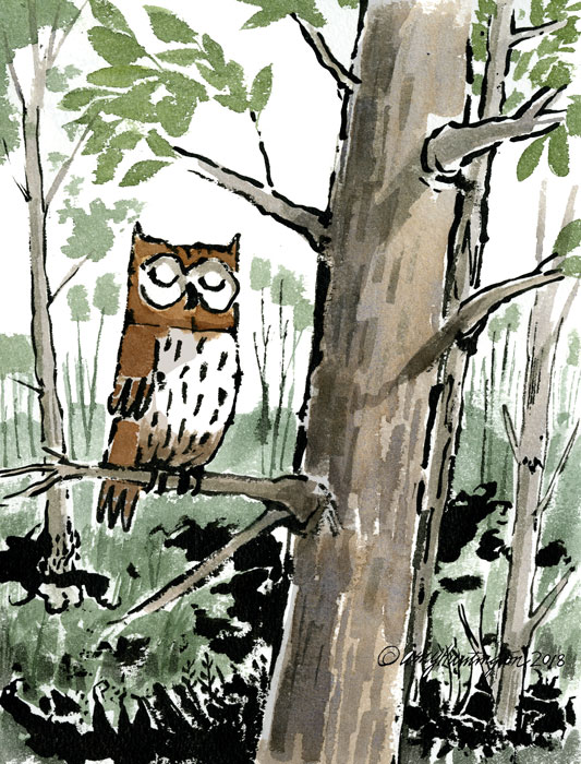 Illustration of an owl in a tree