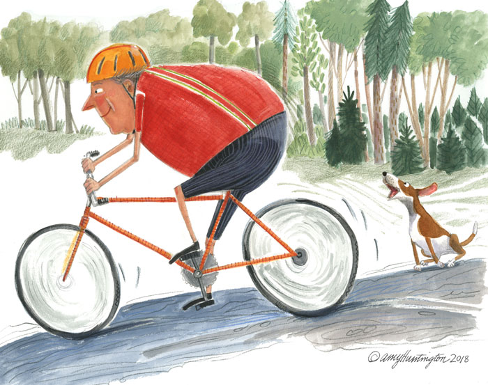 Illustration of biker and dog barking