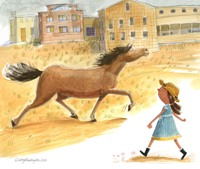 Illustration of grumpy girl and horse