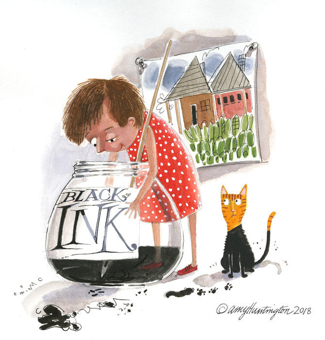 "Illustration, child with giant ink bottle and ""dipped"" cat"