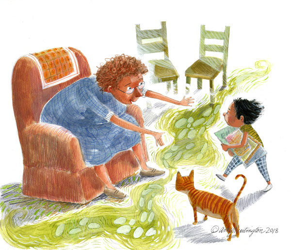 Illustration oftoddler with armful of books, running toward woman in comfy chair