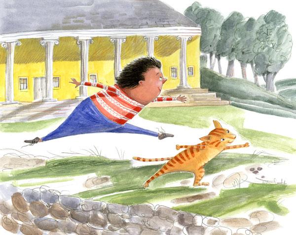 Boy and cat dancing. Illustration