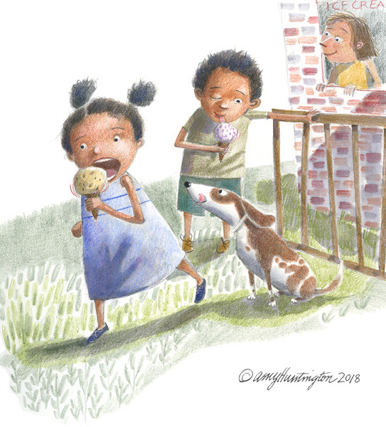 Illustration, two kids enjoying ice cream cones
