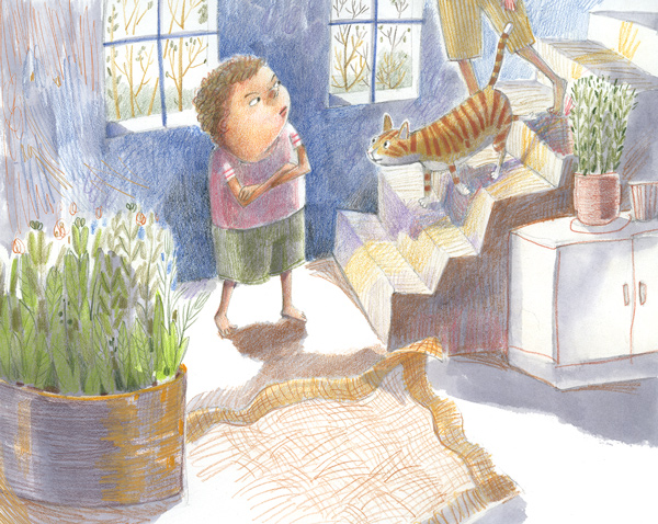Illustration of a boy watching cat come down stairs