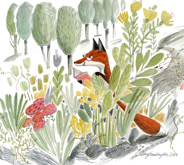 illustration of a fox reading