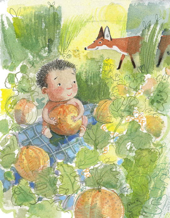 Illustration of baby in a garden with fox