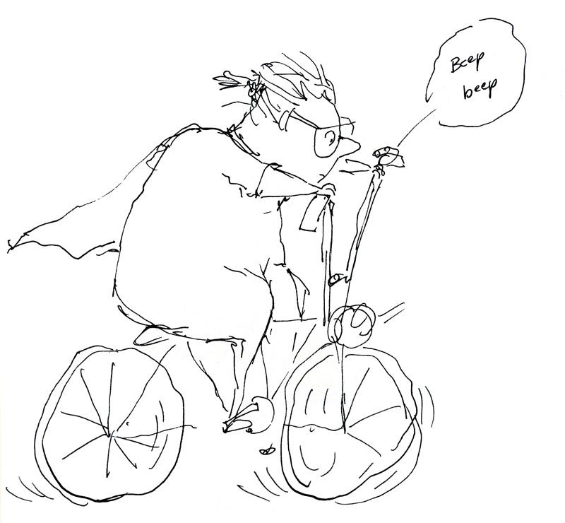 pen and ink drawing, grandma on a bike