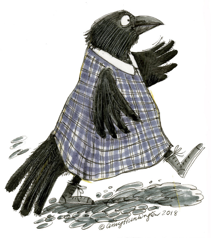Illustration, crow walking