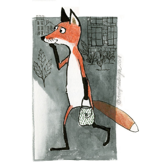 Illustration of fox walking
