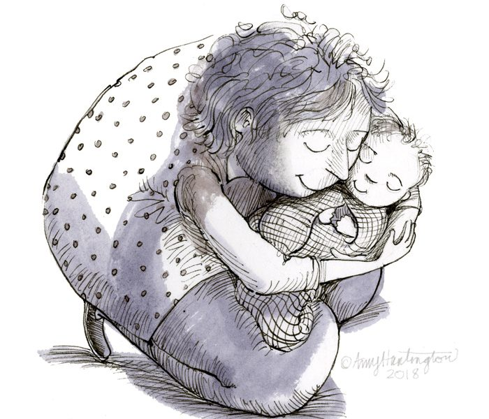 Ink illustration of grandmother and baby