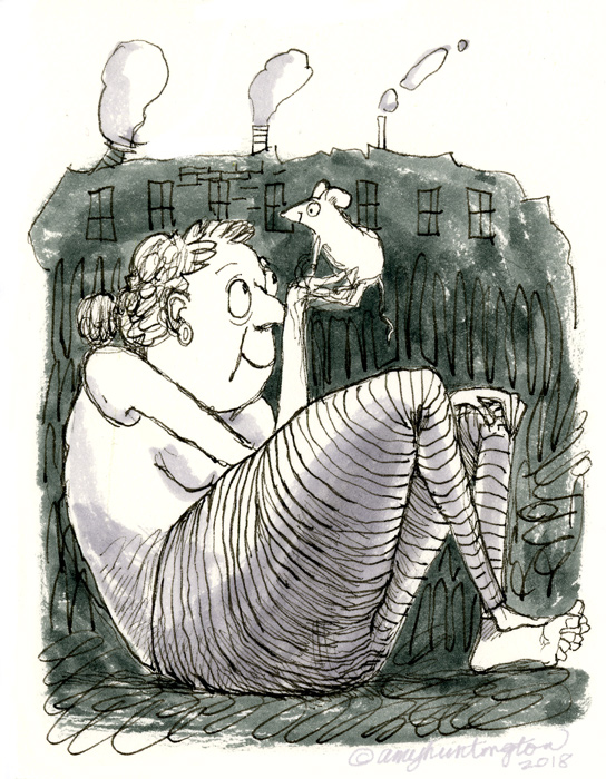Illustration, Mouse and Woman