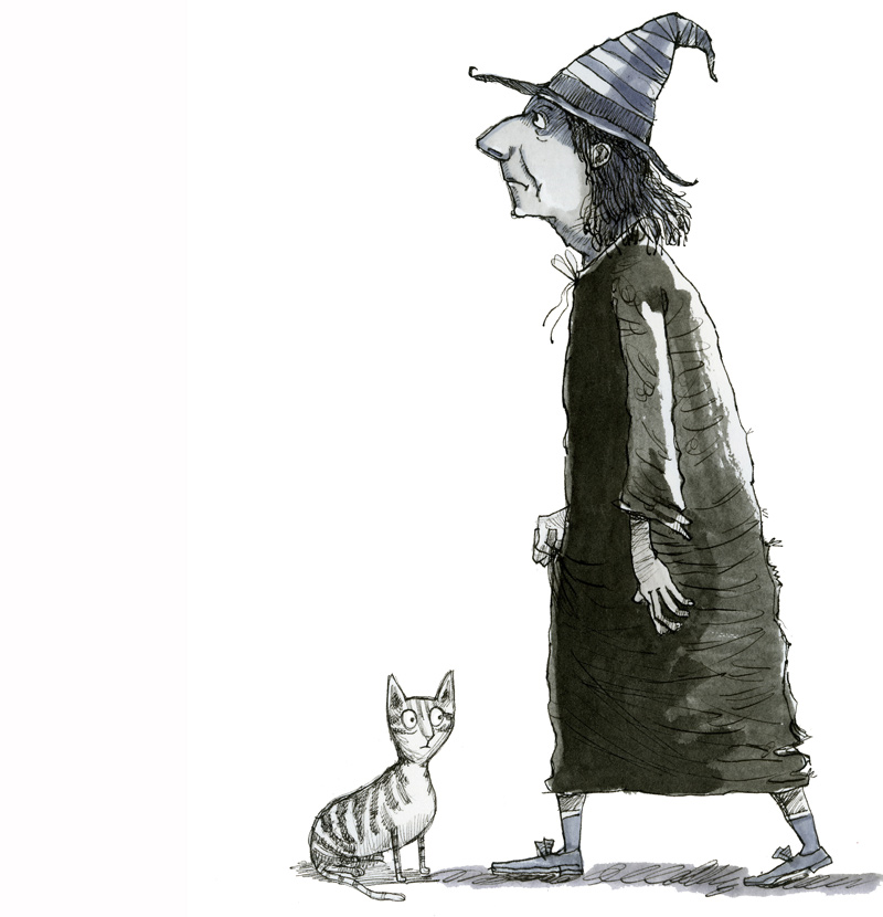 Illustration, pen and ink, witch and cat