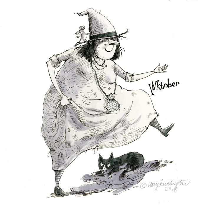 Ink iIllustration of cat with dancing witch.