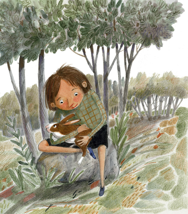Illustration, girl and bunny under trees