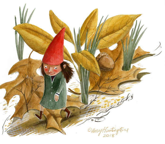 Illustration, gnome child walking among fallen leaves