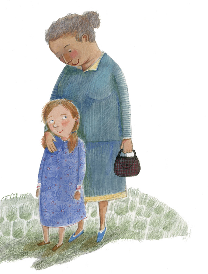 Illustration of girl and older woman sharing a moment