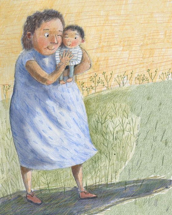 Illustration, grandmother holding baby
