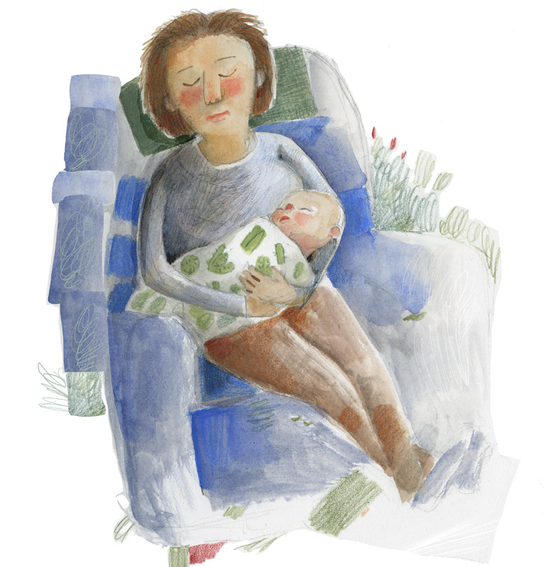 Illustration, grandmother and baby asleep on chair