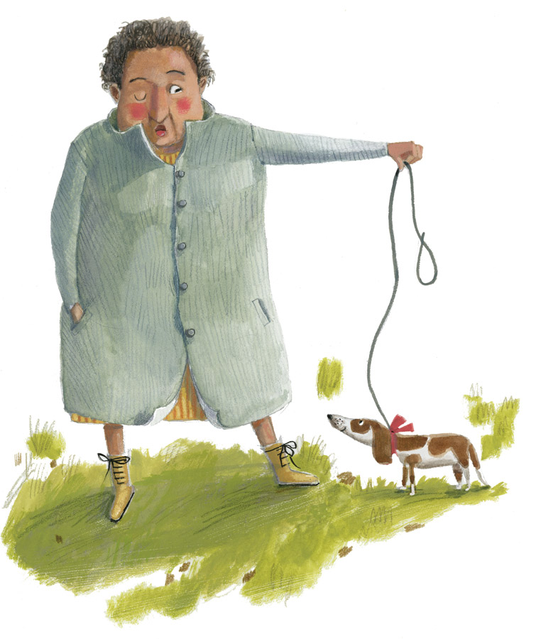 illustration. Large, older woman walks a tiny dog.