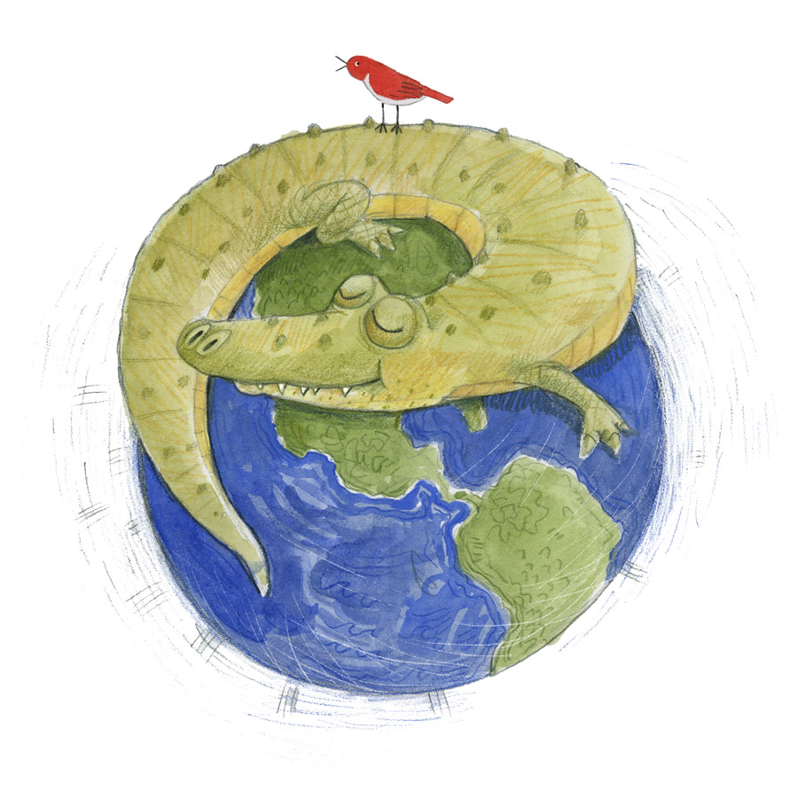 Illustration, gator wrapped around the earth with a bird perched on top.