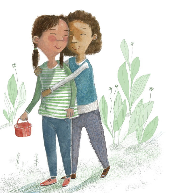 Two young friends share a hug, illustration